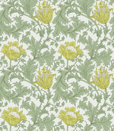 Modern seamless pattern for interior decoration, wrapping paper, graphic design and textile. Floral seamless pattern. Vector illustration. Backgrounds. 向量圖像