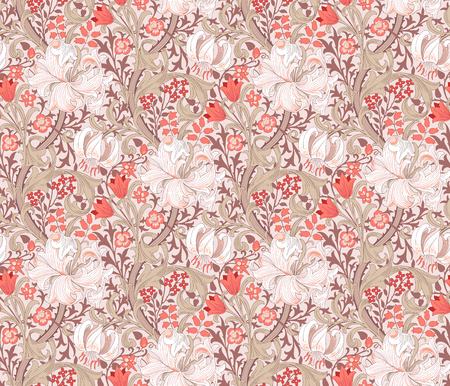 Floral seamless pattern. Wrapping paper, graphic design and textile. Vector illustration. Backgrounds. Ilustração