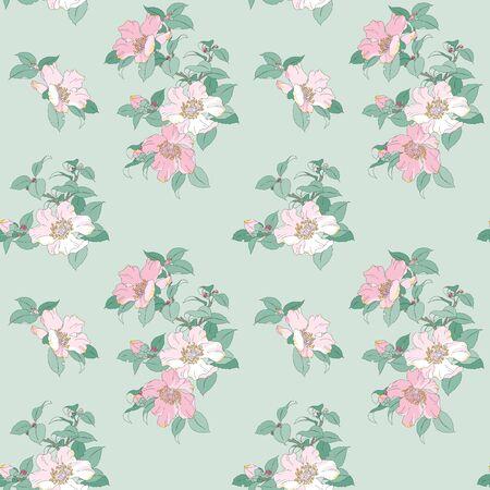 Modern floral seamless pattern for your design. Print on paper or textile. Desktop wallpaper. Vector illustration. Background. Иллюстрация