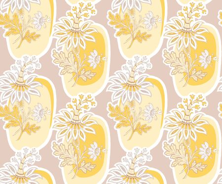Modern fabric design pattern. Floral pattern for your design. Vector illustration. Wrapping paper, graphic design and textile. Background. Иллюстрация