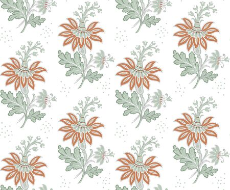 Modern fabric design pattern. Floral pattern for your design. Vector illustration. Wrapping paper, graphic design and textile. Background. Stock Illustratie