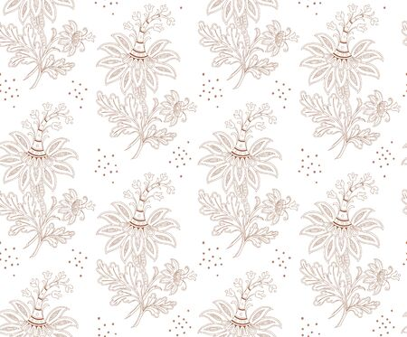 Floral seamless pattern for your design. Modern fabric design pattern. Floral seamless pattern for coloring. Banque d'images - 132211568