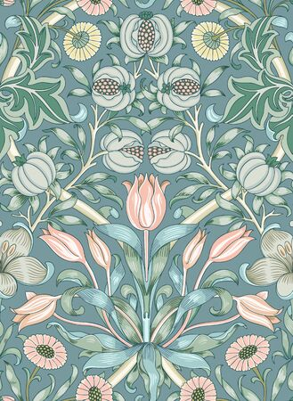 Modern fabric design pattern. Floral pattern for your design. Illustration. Wrapping paper, graphic design, clothes and textile. Vector. Background. Çizim