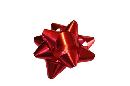 foil: Red foil Christmas bow isolated.