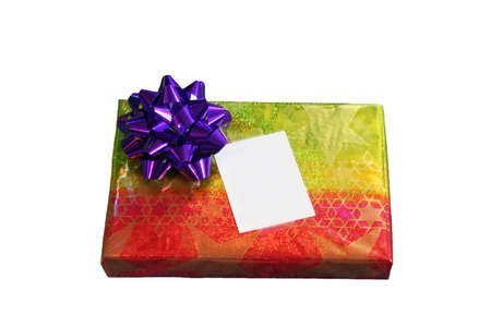 foil: Isolated Christmas gift in colorful foil wrap, foil bow, & blank card.