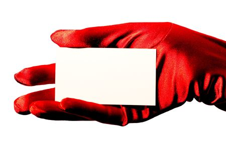 High contrast sparkling red satin glove holding your business card, credit card, rewards card, coupon, note etc.  Stock Photo