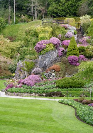 Part of the Butchart Gardens sunken garden in beautiful Victoria, British Columbia, Canada.  Springtime.