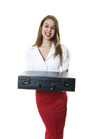 A pretty office girl presenting a briefcase. Stock Photo - 3967311