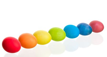 A colorful rainbow of dyed Easter eggs.  Shot on white background. Stock Photo - 4327179