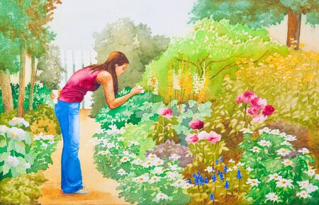 An original watercolor painting of a young girl taking pictures in a flower garden.