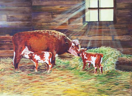 Light radiates through a barn window on a cow and her newborn twin calves.  An original oil painting on canvas. Stock Photo - 4807106