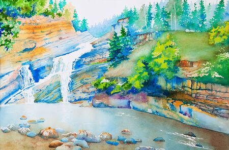 A waterfall in Waterton Park, Alberta, Canada.  An original watercolor painting using negative space technique. Stock Photo - 4807096