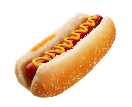 An old-fashioned hot dog with mustard, on a sesame seed bun.  Shot on white background. photo