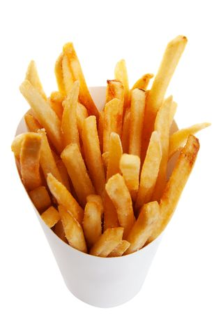 fries: Golden brown french fries in a generic white take out container.  Shot on white background. Stock Photo
