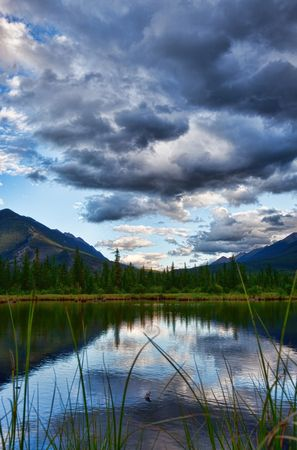 Vermillion Lakes at dusk in Banff National Park, Alberta, Canada. Stock Photo - 5458346