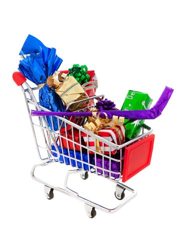 A cart full of wrapped Christmas presents, including a wrapped hockey stick and a wrapped bottle of wine.  Shot on white background. photo