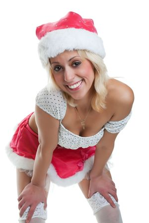 Blond woman dressed in Christmas lingerie.  Shot on white background. photo