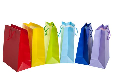 Brightly colored shopping bags in a rainbow of colors. Stock Photo - 5973659