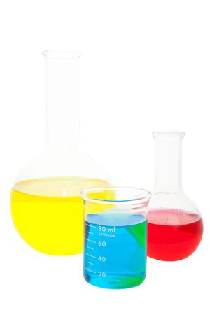 erlenmeyer: Laboratory glass containing various fluids.  Shot on white background.