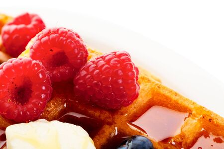 Waffles with mixed berries and syrup macro. Stock Photo - 6008646