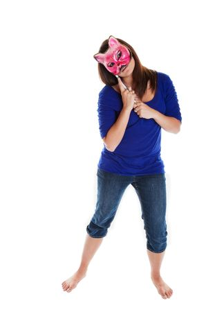 hand held: Theatrical performer with hand held Venetian mask.  Shot on white background.