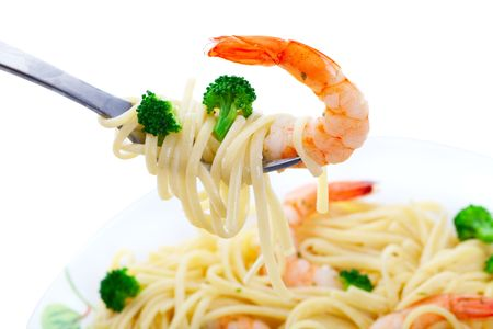 Shrimp Linguini with broccoli.  Focus on fork.  Shot on white background. photo