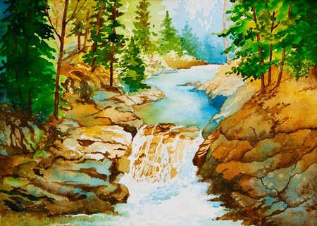 An original watercolor painting of a waterfall landscape.