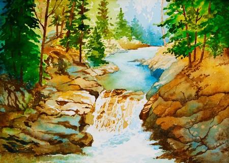 Ein original Aquarell einer Landschaft mit Wasserfall. Standard-Bild - 7564497