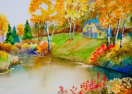 An autumn landscape featuring an old barn, near a quiet pond.  An original watercolor painting.