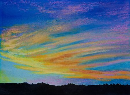 An original pastel over watercolor painting of an evening sky. Stock Photo - 7608908