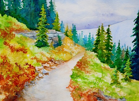 An original watercolor painting inspired by the beautiful mountain trails of Banff National Park. Stock Photo