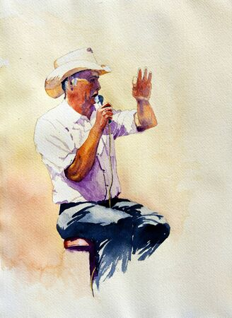 The Auctioneer is an original watercolor of a man conducting an auction.