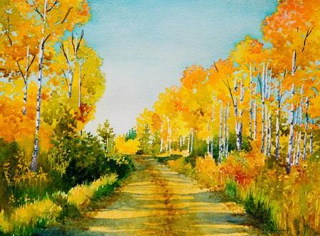 Ein original Aquarell Malerei inspiriert von einem schönen, farbigen Herbst, Nebenstrecke in Northern Saskatchewan. Standard-Bild - 7917899