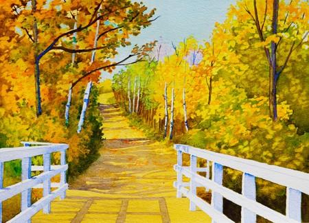 Ein original Aquarell Malerei inspiriert von einem schönen, farbigen Herbst, Trail in Northern Saskatchewan. Standard-Bild - 7916288