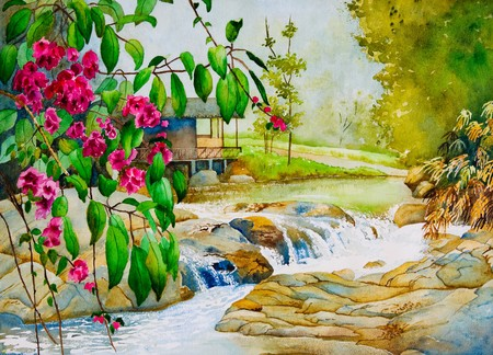 An original watercolor painting inspired by a beautiful spring scene in Thailand. Stock Photo