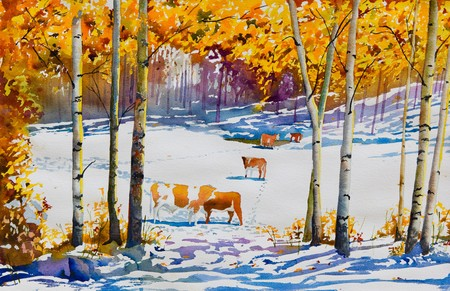 Ein original Aquarell, der ein viehweide mit einem frühen Decke aus Schnee, im Herbst.  Macht ein schönes Kunstdruck für Wände. Standard-Bild - 8267530