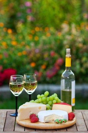 A romantic garden party for two, with white wine and an assortment of fruits and cheeses.  Shallow depth of field.