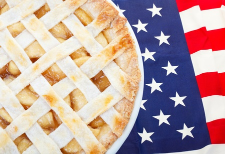american dessert: As American as apple pie as the saying goes.  Fresh apple pie on an American flag.