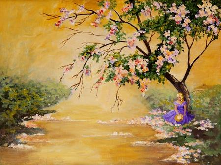 and painting: Una original pintura acr�lica de una hermosa belle sur sentado bajo un �rbol flor grande.