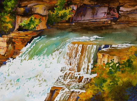 An original watercolor painting of a waterfall landscape, near Markham, Ontario, Canada Stock Photo