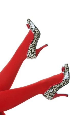 animal print: Stampano belle calze rosse, con rosso e animale, rockabilly stile tacchi calci in aria.  Colpo su sfondo bianco.