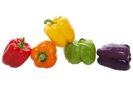 adds: The newest bell pepper hybrid, named Bluejay, adds purple to the lineup of colorful bell peppers that can be used to add color and drama to a salad or dish.  Shot on white background.   Stock Photo