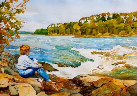 nature picture: An original watercolor painting of a middle-aged woman sitting on the rocks by Otter Rapids near Lac La Ronge, Saskatchewan, Canada in Autumn.