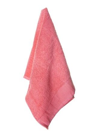 Une chaude serviette couleur corail pendaison Isolé sur fond blanc Banque d'images - 13823409