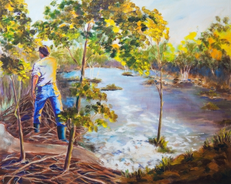 An original acrylic painting on canvas of a man walking on top of a dam, in Northern Saskatchewan, Canada  photo