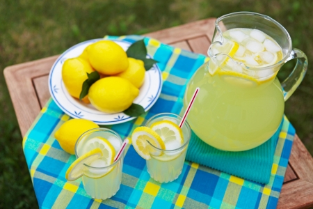 Freshly squeezed lemonade on a hot summer day