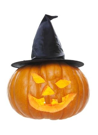 Uma abóbora esculpida para Hallowe Imagens