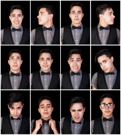 얼굴 표정: 한 젊은 남자, 얼굴 표정 세트 많은 얼굴