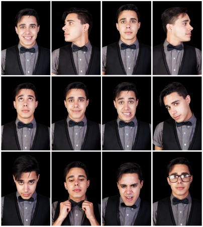 multiple: One young man, many faces   Set of facial expressions  Stock Photo