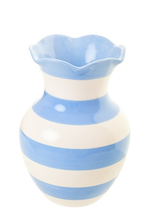 Pale blue and cream striped vase Imagens